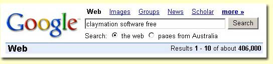Google Search for Claymation Free Software