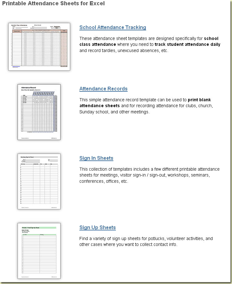 school attendance record template