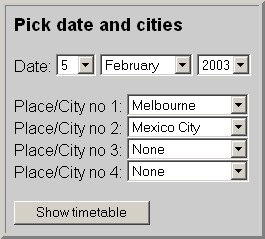 Pick date and cities