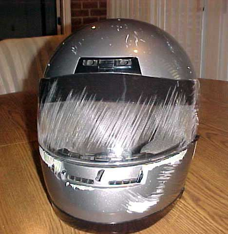 helmet after he suffered a crash in West Virginia. Dave came out of it just fine—thanks to his full-face helmet